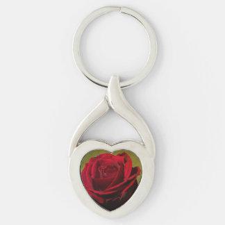 Llavero texturizado del corazón del rosa rojo