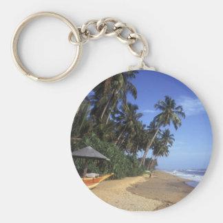 Llavero tropical de la escena de la playa del para
