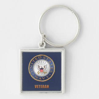 Llavero U.S. Cuadrado del premio del veterano de la marina