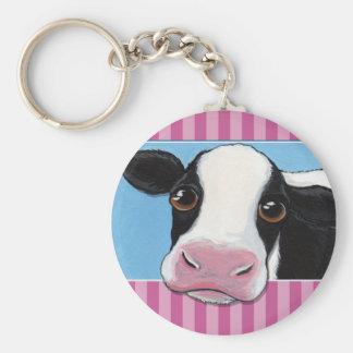 Llavero Vaca negra y blanca caprichosa linda con la raya