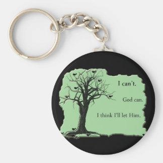 Llavero verde - árbol del pájaro - biselo a dios puedo -