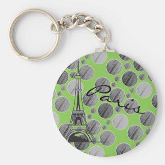 Llavero verde del círculo del punto de París