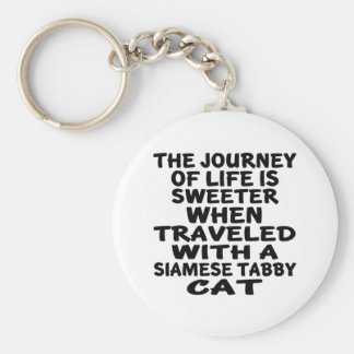 Llavero Viajado con el gato de tabby siamés