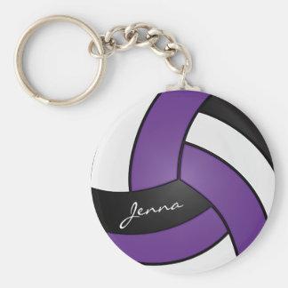 Llavero Voleibol púrpura, blanco y negro