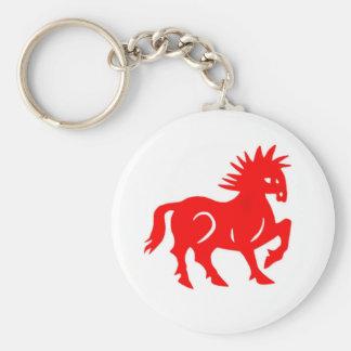 Llavero: Zodiaco rojo del chino del caballo Llavero Redondo Tipo Chapa