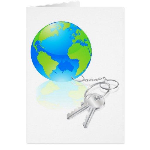 Llaves al concepto del mundo tarjeta