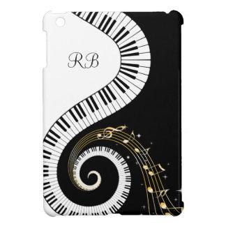 Llaves del piano del monograma y notas musicales