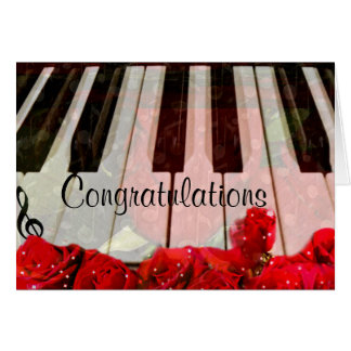 Llaves del piano, rosas y música Notes_ Tarjeta De Felicitación