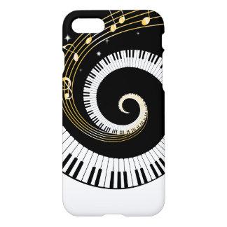 Llaves del piano y notas de la música del oro funda para iPhone 7