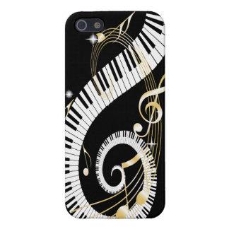 Llaves del piano y notas de oro de la música que iPhone 5 cobertura