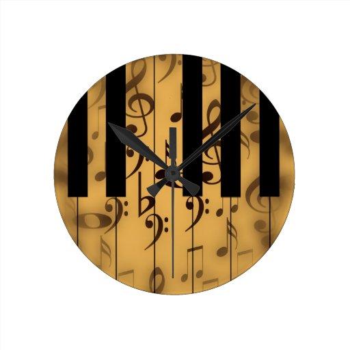 Llaves del piano y notas musicales reloj de pared zazzle - Reloj de pared diseno ...