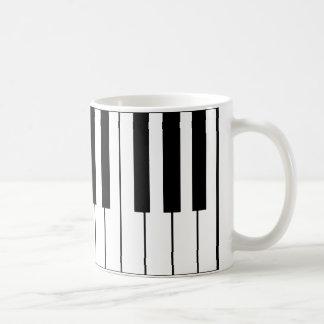 llaves música-temáticas del piano taza de café