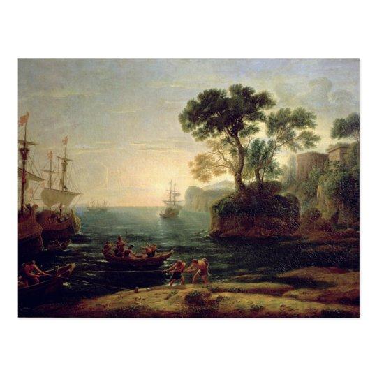 Llegada de Aeneas en Italia, el amanecer del Postal