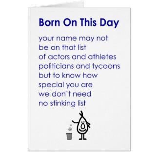 Llevado en este día - un poema divertido del tarjeta de felicitación
