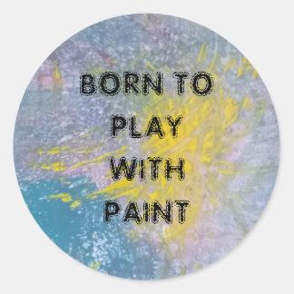 Llevado jugar con los pegatinas de la pintura pegatina redonda