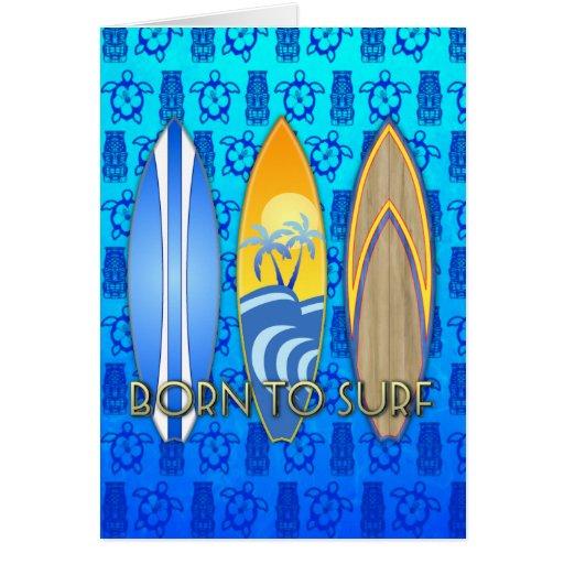 Llevado practicar surf tarjeton