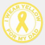 Llevo el amarillo para mi papá etiquetas redondas