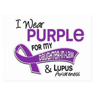 Llevo la púrpura para mi lupus de la nuera 42 tarjeta postal