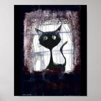 Lluvia de observación del gatito de la ventana. póster