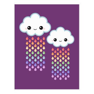 Lluvia del arco iris de Kawaii Postal