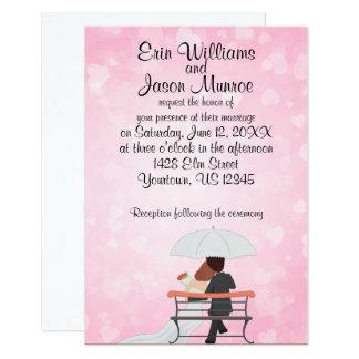 Lluvia del corazón de novia y del novio invitación 8,9 x 12,7 cm