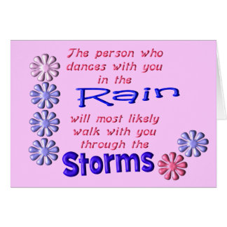 Lluvia y tormentas tarjeta de felicitación