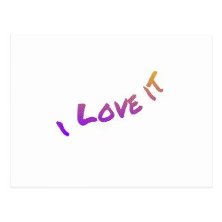 Lo amo, lema colorido del arte de la palabra postal