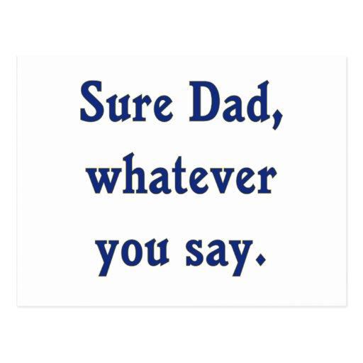 Lo que usted dice al papá seguro postales