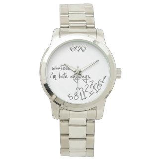 lo que, yo son atrasados de todos modos - negro relojes de mano