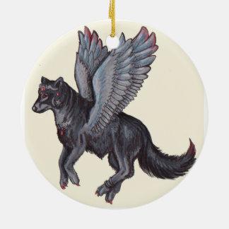Lobo con alas adorno redondo de cerámica