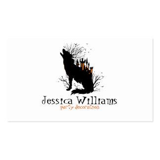 Lobo de Halloween con el castillo fantasmagórico Tarjetas De Visita