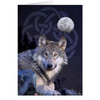 Lobo de la noche con el nudo céltico tarjeta