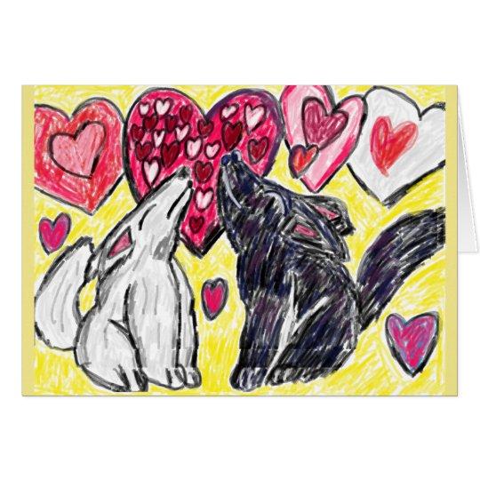 Lobo de la tarjeta del día de San Valentín que