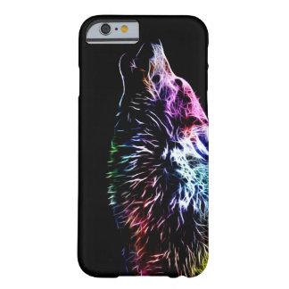 Lobo del fractal del arco iris funda de iPhone 6 barely there