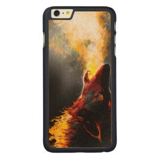 Lobo del fuego funda fina de arce para iPhone 6 plus de carved