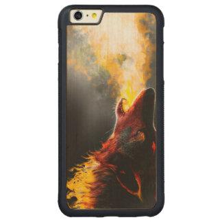 Lobo del fuego funda para iPhone 6 plus de carved® de nogal