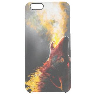 Lobo del fuego funda transparente para iPhone 6 plus