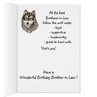 Lobo del humor del cuñado del feliz cumpleaños, tarjeta de felicitación