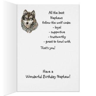 Lobo del humor del sobrino del feliz cumpleaños, l tarjeta de felicitación