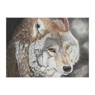 Lobo - dibujo de lápiz de color impresión en lienzo estirada