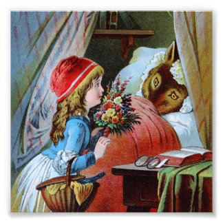 Lobo en cama de la abuela cojinete