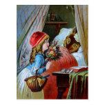 Lobo en cama de la abuela tarjetas postales