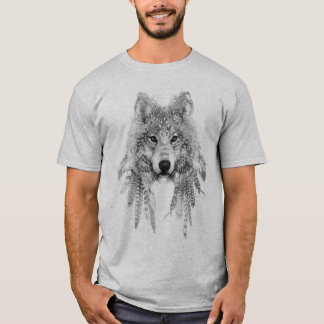 Lobo en camiseta de la ropa de Indigeonous