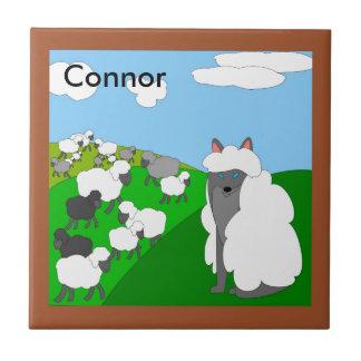 lobo en el trivet de la ropa de la oveja azulejo cuadrado pequeño
