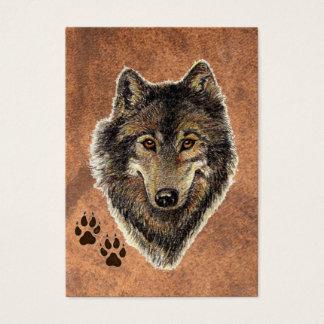 Lobo gris de la acuarela original del ATC de ACEO Tarjeta De Negocios