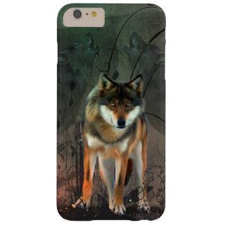 Lobo impresionante en fondo del vintage funda barely there iPhone 6 plus