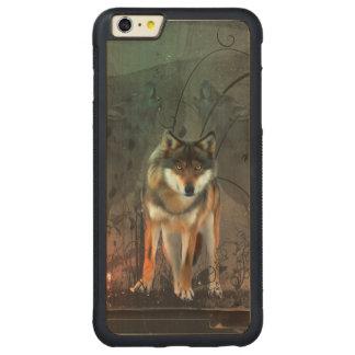 Lobo impresionante en fondo del vintage funda para iPhone 6 plus de carved® de nogal