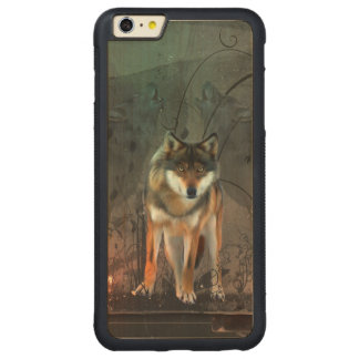 Lobo impresionante en fondo del vintage funda protectora de arce para iPhone 6 plus de car