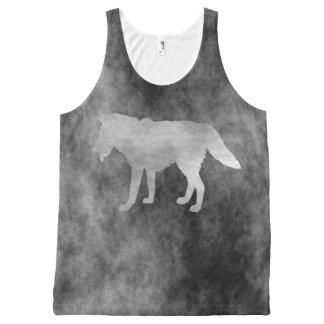 Lobo negro del Grunge Camiseta De Tirantes Con Estampado Integral