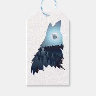 Lobo que grita con el bosque 4 etiquetas para regalos